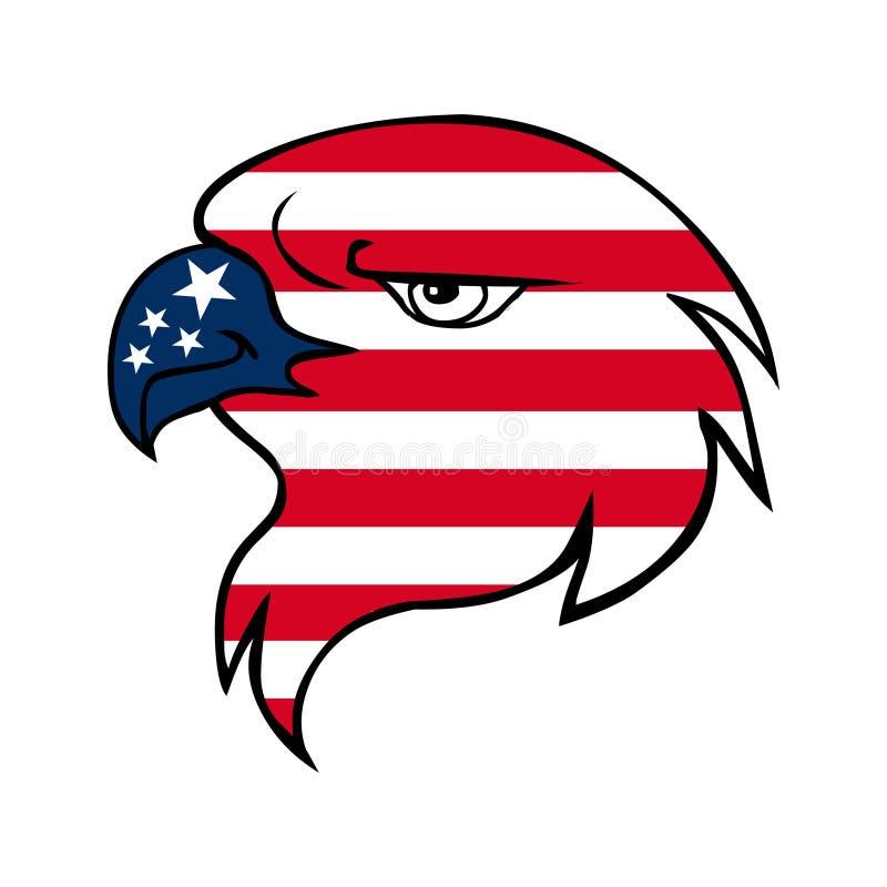 Cara da águia da bandeira americana ilustração do vetor