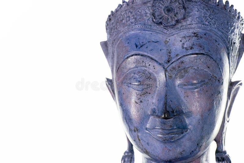 Cara da Buda contra o fundo branco Botão azul roxo moderno do zen fotografia de stock