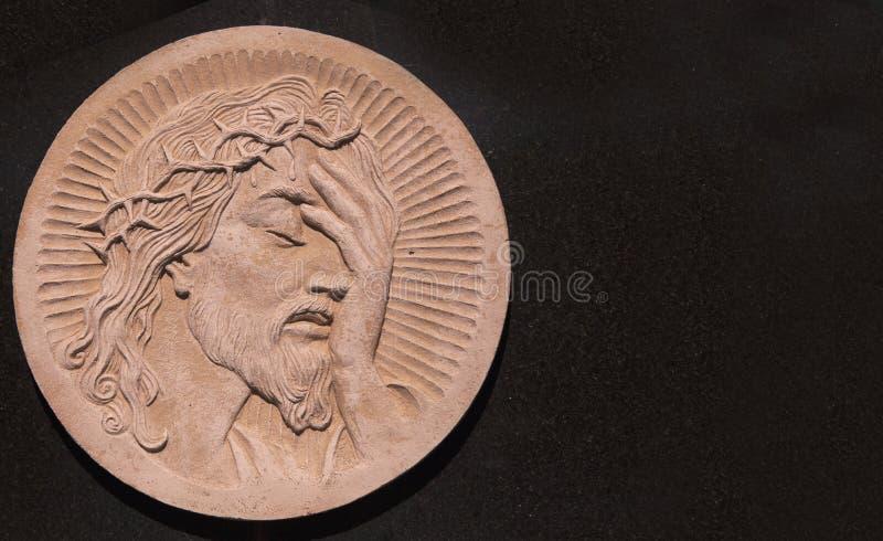 Cara da coroa de Jesus Christ da estátua dos espinhos fotos de stock royalty free