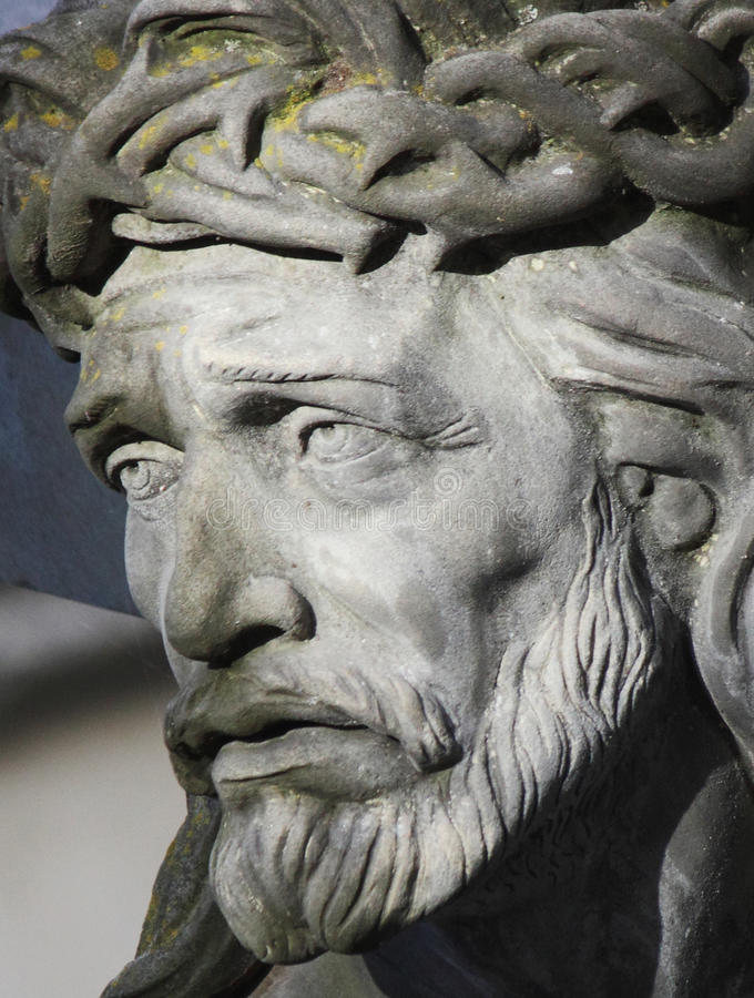 Cara da coroa de Jesus Christ de espinhos (estátua) fotografia de stock
