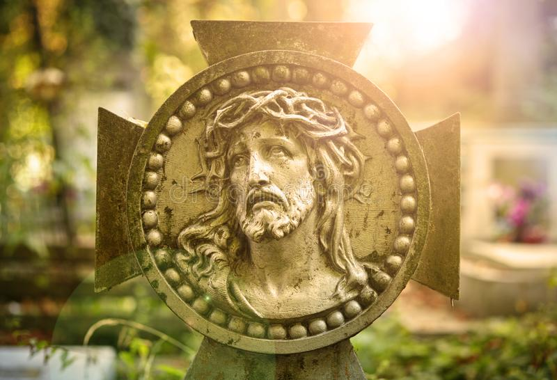 Cara da coroa de Jesus Christ de espinhos imagens de stock
