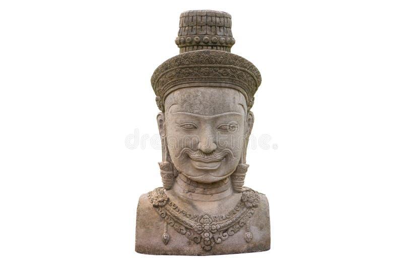 Cara da estátua de buddha do Khmer isolada no fundo branco imagem de stock