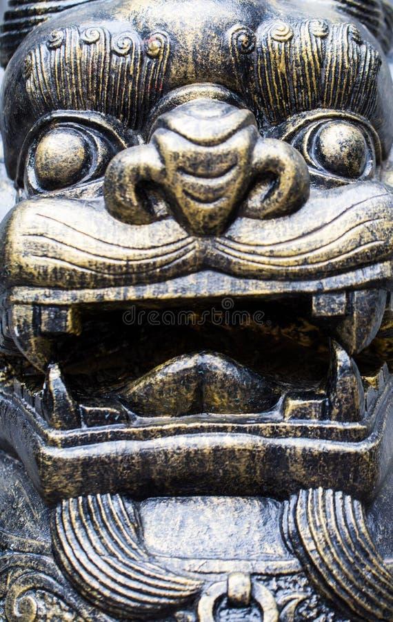 cara da estátua do leão fotografia de stock
