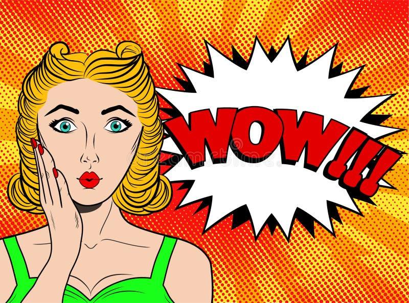 Cara da fêmea do pop art do wow Jovem mulher surpreendida 'sexy' com h louro ilustração do vetor