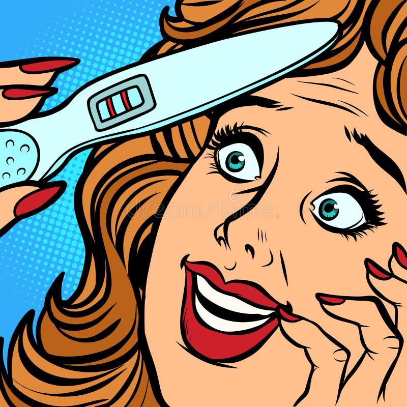 Cara da felicidade da mulher das tiras do teste de gravidez dois ilustração stock