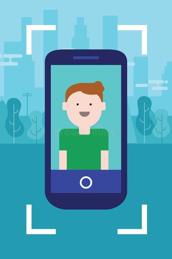 Cara da foto do homem no divertimento móvel dos jovens do caráter do sorriso do selfie do dispositivo do Smart-telefone da tela d ilustração do vetor