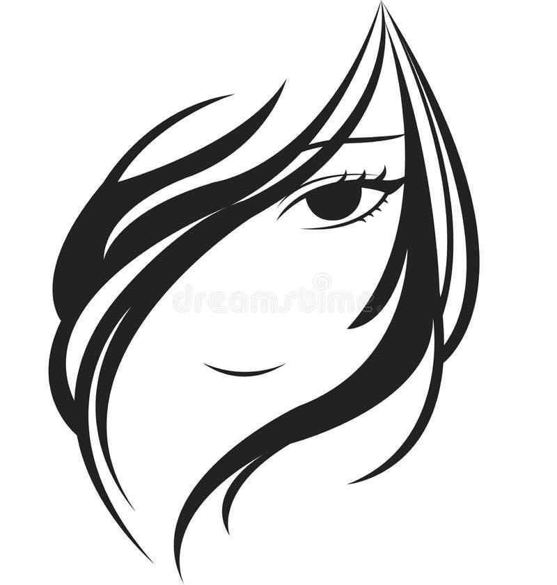 cara da jovem mulher ilustração do vetor