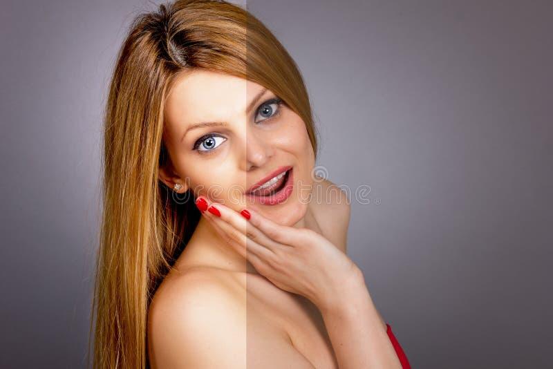 A cara da jovem mulher bonita antes e depois de retoca foto de stock royalty free