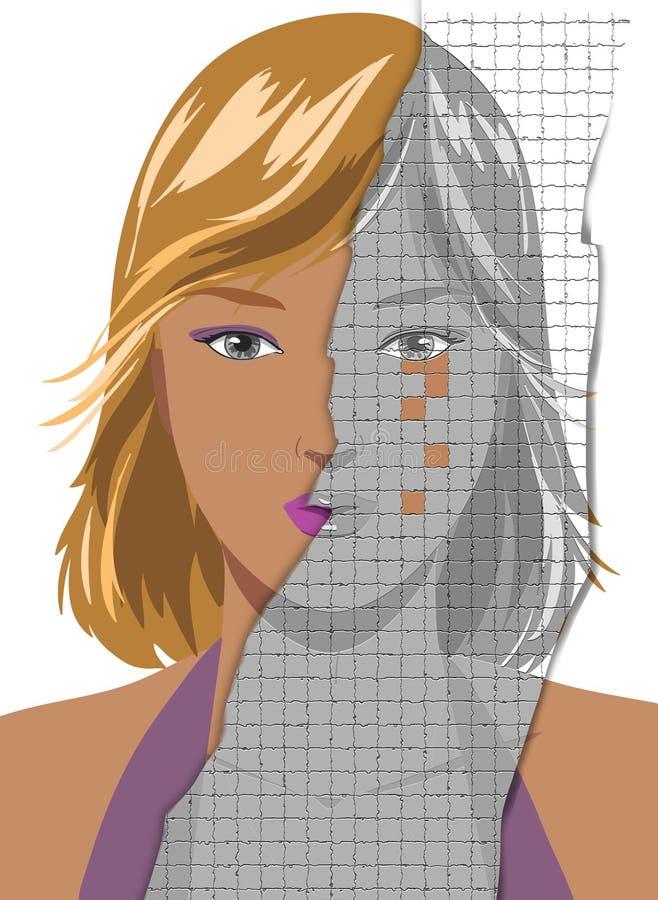 Cara da jovem mulher bonita que torna-se enrugada ilustração stock