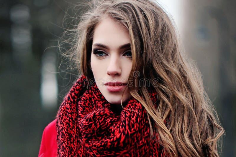 Cara da jovem mulher com cabelo leve, fora retrato imagens de stock