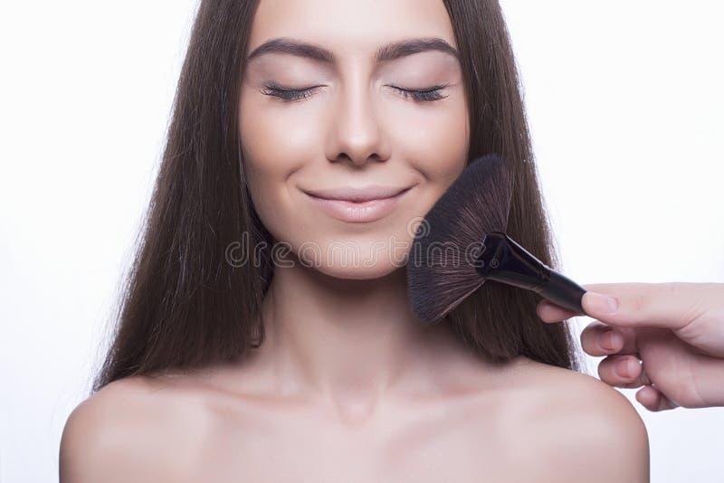 Cara da jovem mulher com pele perfeita fotos de stock royalty free
