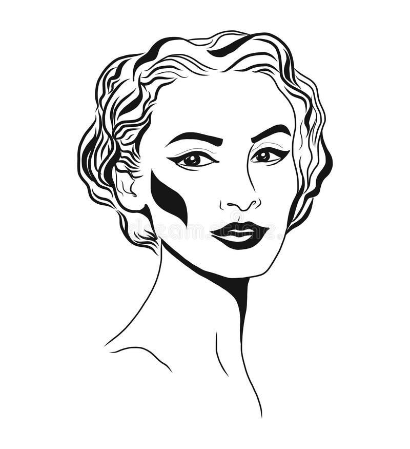 Cara da jovem mulher, esboço da forma, desenho linear preto e branco da cara Vector a ilustração, cartaz, bandeira, logotipo ilustração royalty free