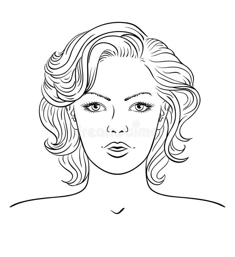 Cara da jovem mulher Penteado da forma ilustração do vetor
