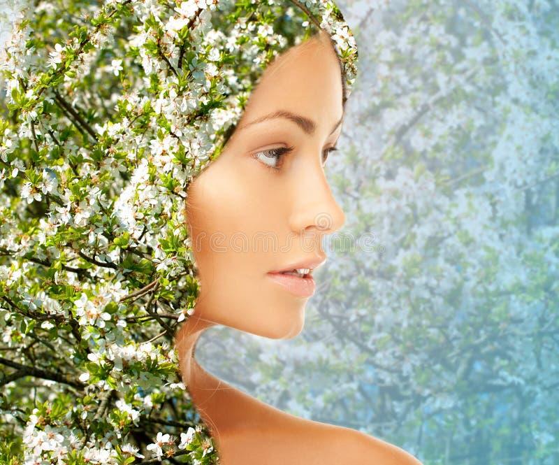 Cara da jovem mulher sobre o teste padrão de florescência da árvore fotos de stock royalty free