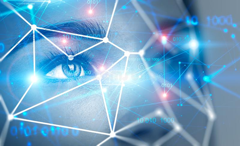 Cara da jovem mulher, verificação biométrica fotos de stock