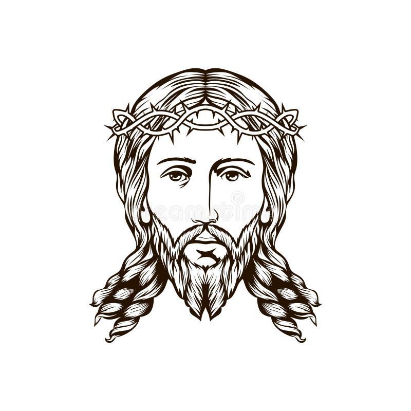 Cara da mão de Jesus tirada ilustração do vetor