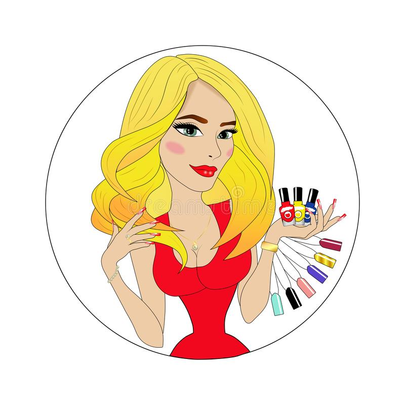 Cara da menina da beleza com verniz para as unhas colorido avatar ilustração royalty free