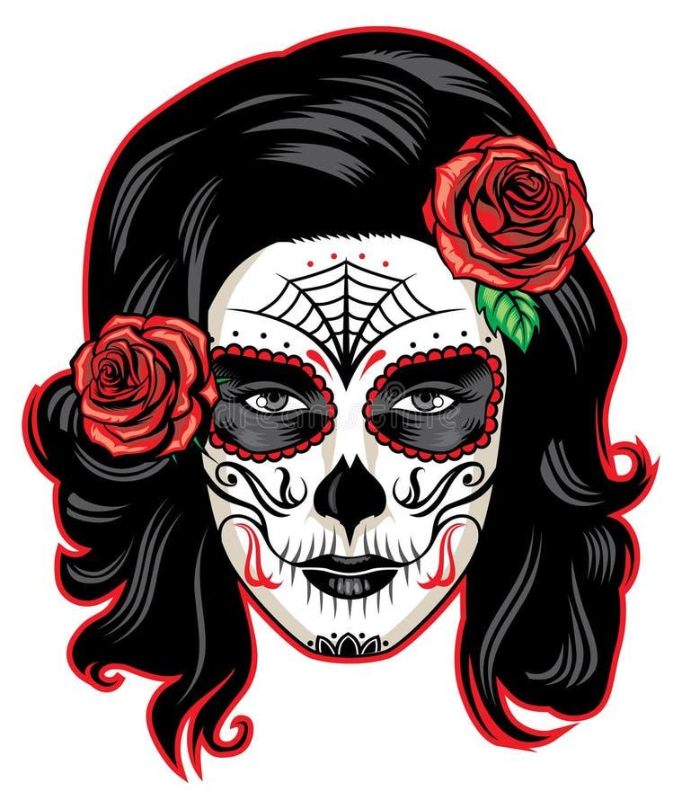 Cara da menina de Muerte ilustração stock