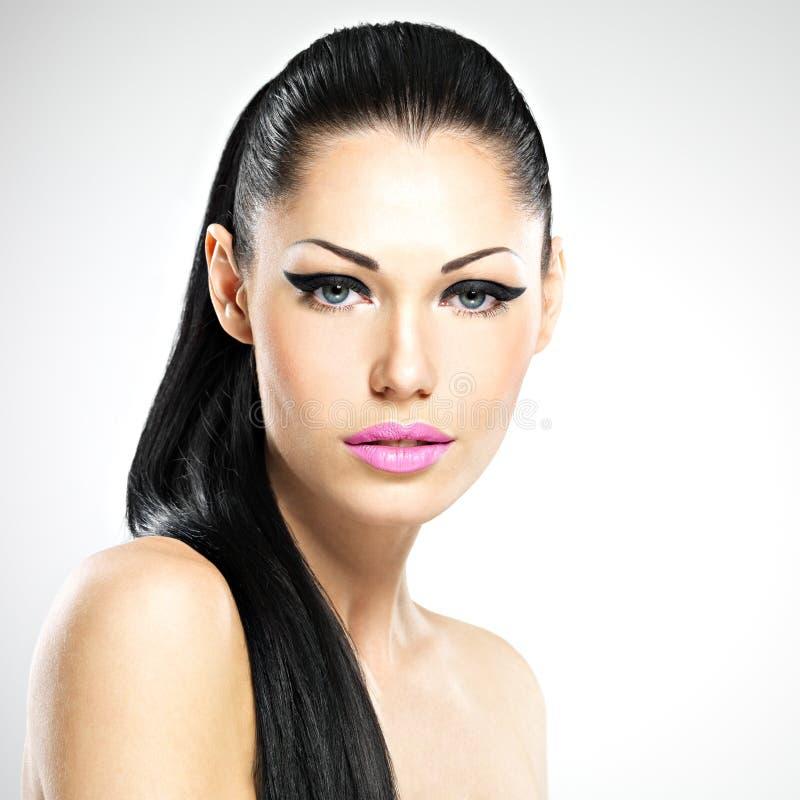 Cara da mulher bonita com composição da forma fotos de stock royalty free