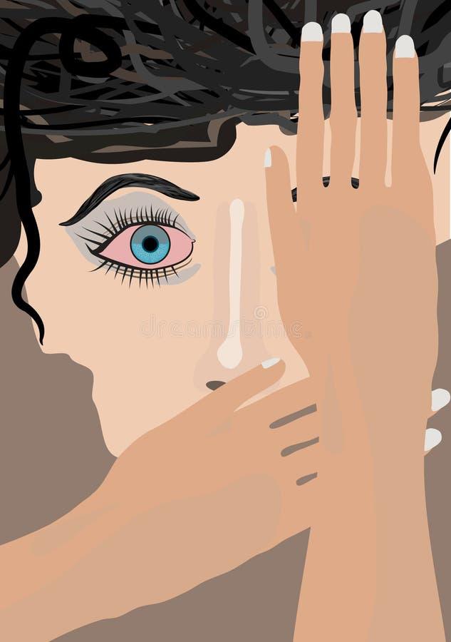 A cara da mulher com cabelo encaracolado amedrontou o olho, um olho e os bordos cobertos com as mãos Vector a ilustração ilustração stock