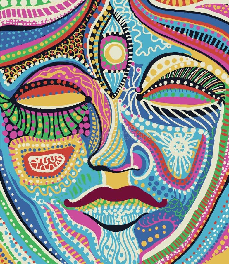 Cara da mulher com teste padrão colorido brilhante ilustração royalty free