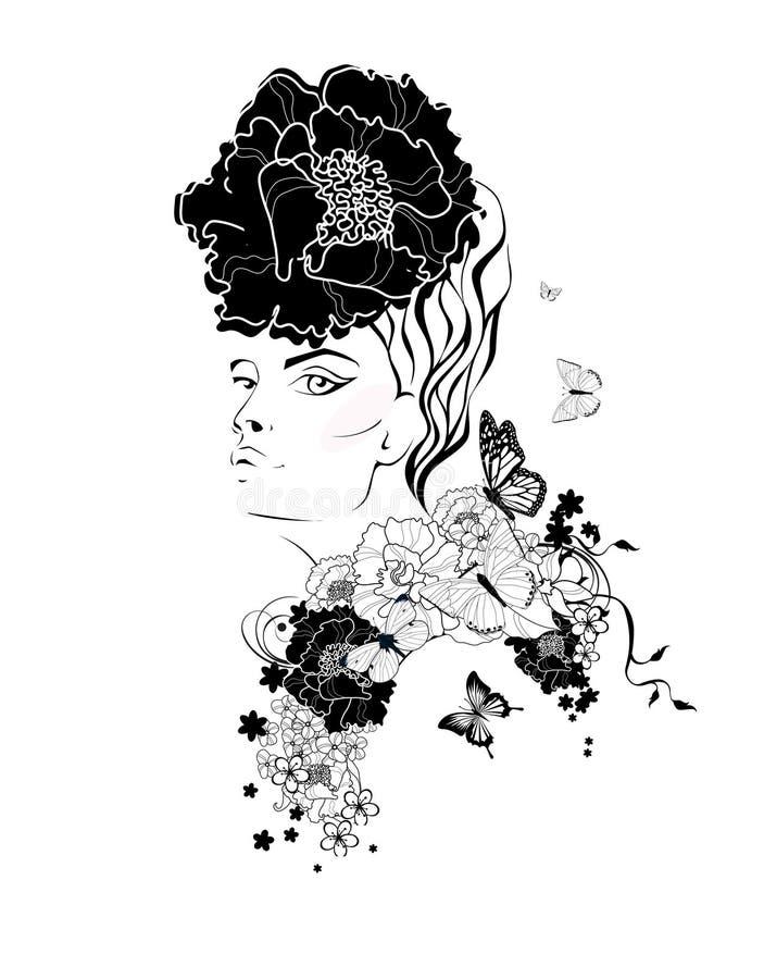 A cara da mulher com uma flor no cabelo Ilustração da forma ilustração royalty free