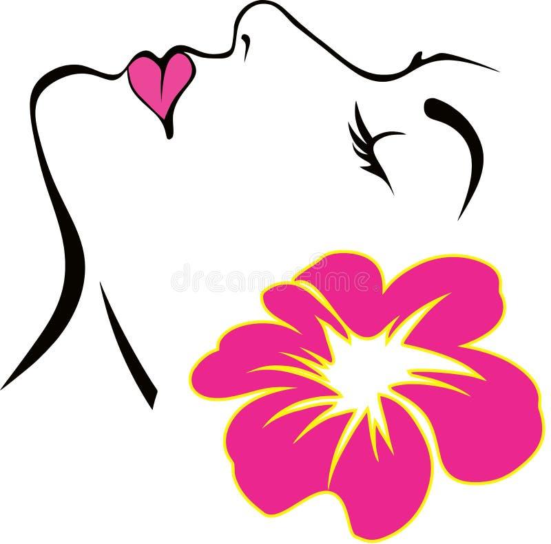 Cara da mulher com vetor cor-de-rosa da flor ilustração do vetor