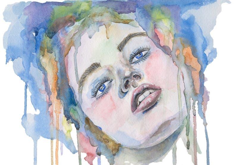 Cara da mulher da aquarela ilustração stock