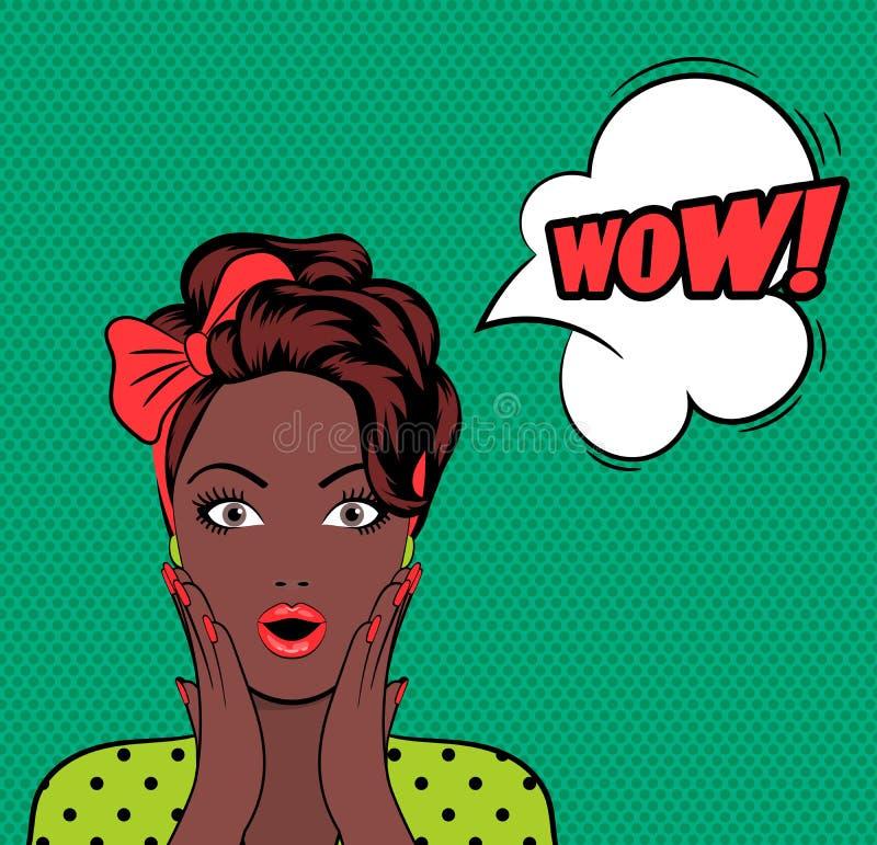 Cara da mulher do pop art da bolha do wow ilustração do vetor