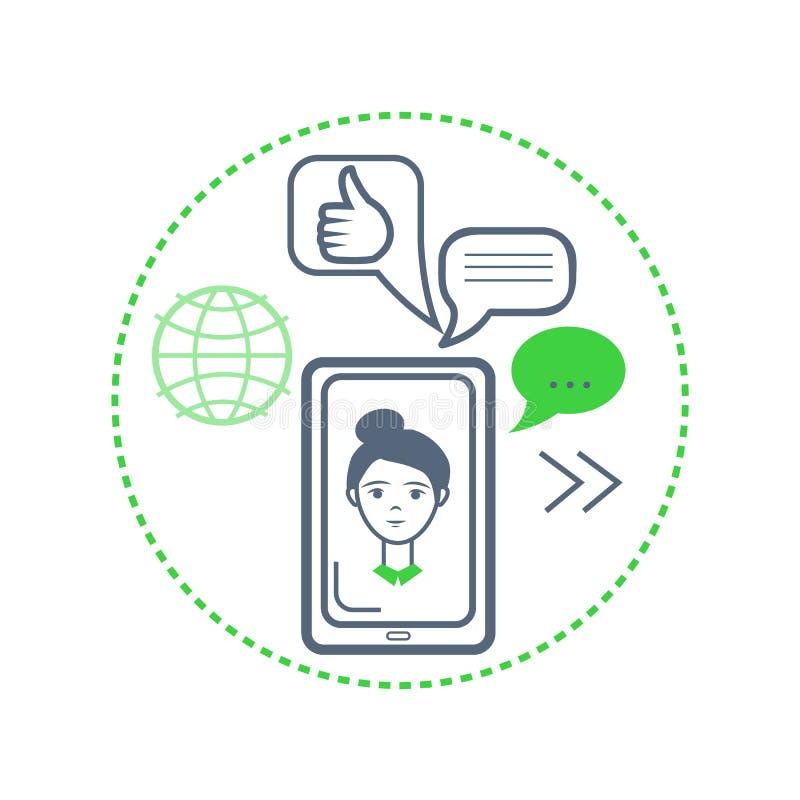 Cara da mulher em Smartphone, no globo e no vetor do sinal da aprovação ilustração stock