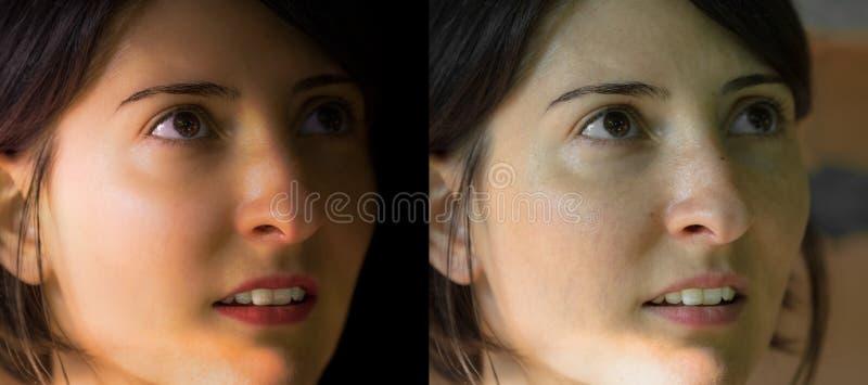 Cara da mulher moreno nova caucasiano bonita antes e do afte imagens de stock royalty free