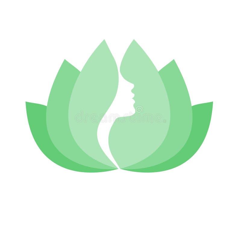Cara da mulher na flor de lótus verde ilustração do vetor