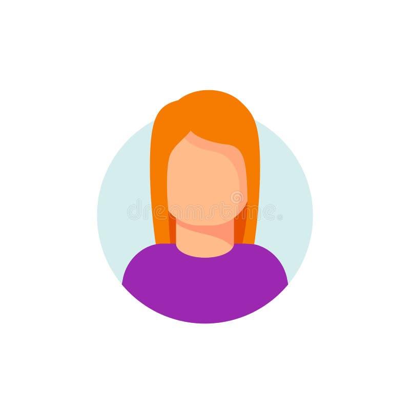 Cara da mulher na ilustração do vetor do ícone do círculo Ideia do avatar ou meu ícone do caráter fêmea da conta isolado Desenhos ilustração do vetor