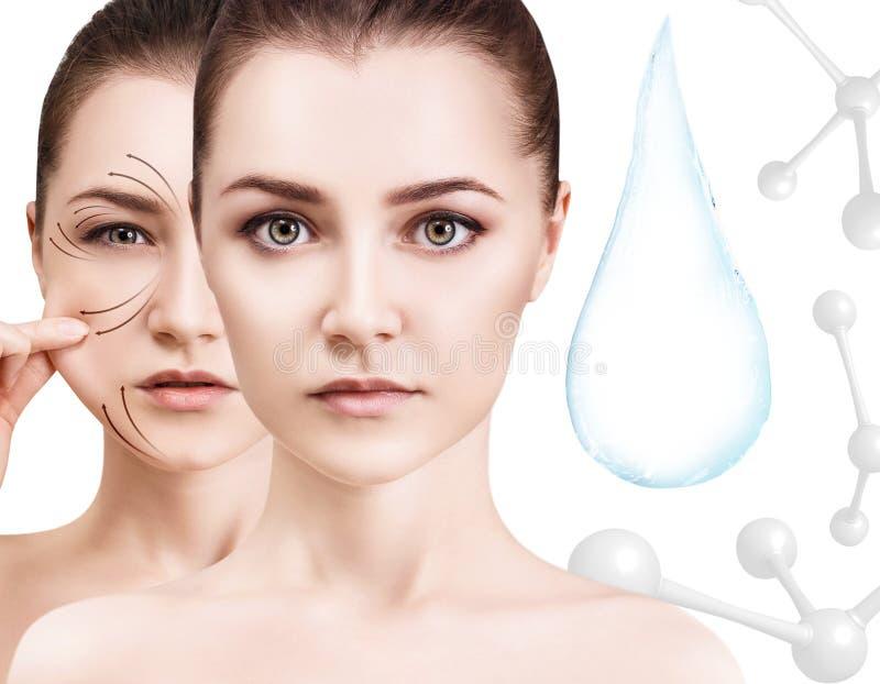 Cara da mulher perto da gota da água com moléculas rendição 3d fotos de stock