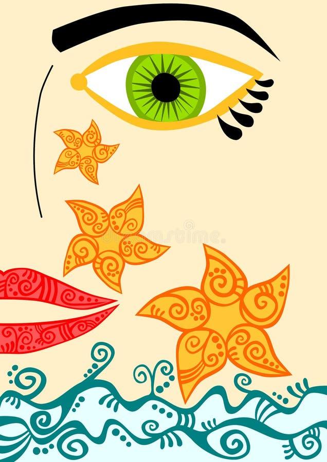 Cara da mulher que sorri com gotas do sol ilustração royalty free