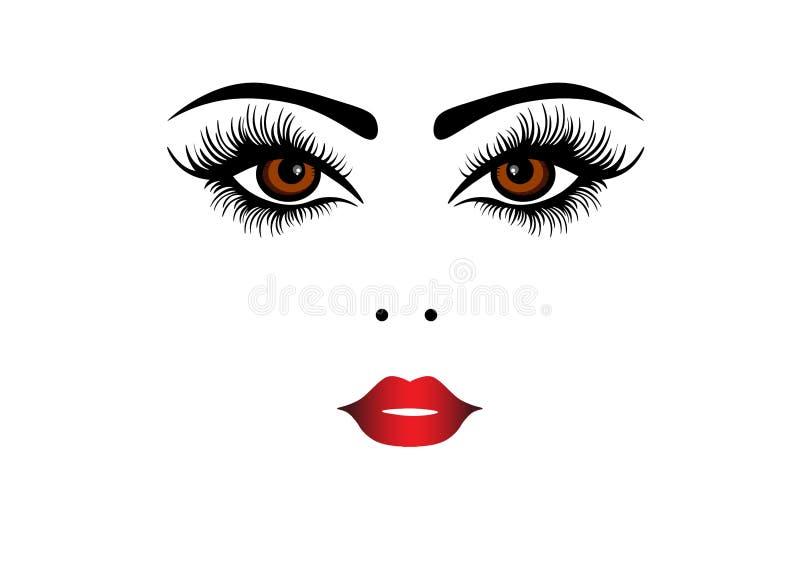 Cara da mulher da Web com os bordos vermelhos para o logotipo da beleza, o sinal, o símbolo, o ícone para o salão de beleza, o sa ilustração royalty free