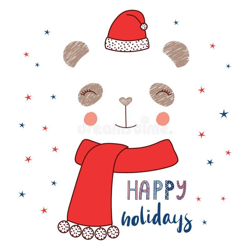 Cara da panda no chapéu de Santa Claus ilustração royalty free