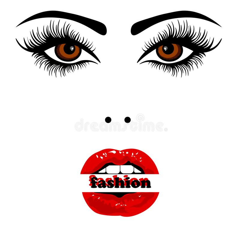 Cara da Web de uma menina bonita em um fundo branco Esboço isolado da menina ilustração stock