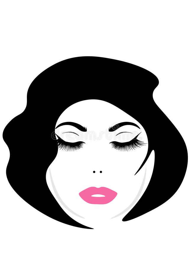Cara da Web de uma mulher bonita nova com cabelo longo ?cone do penteado das mulheres Cara das mulheres do logotipo com penteado  ilustração do vetor