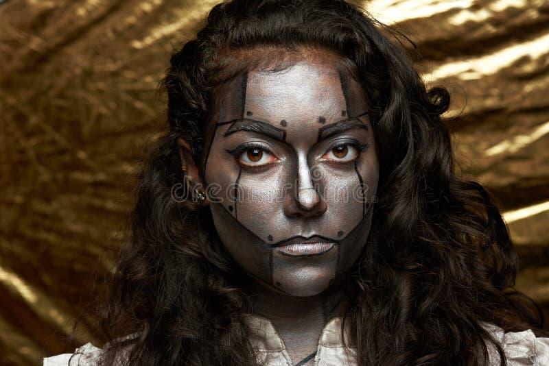 Cara das mulheres do Cyborg imagem de stock royalty free