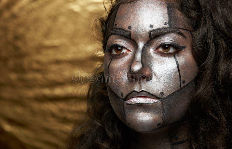 Cara das mulheres do Cyborg fotos de stock