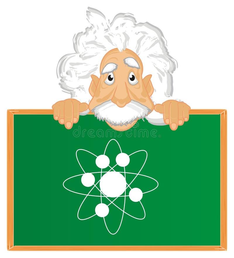 Cara de Albert Einstein con la muestra a bordo ilustración del vector