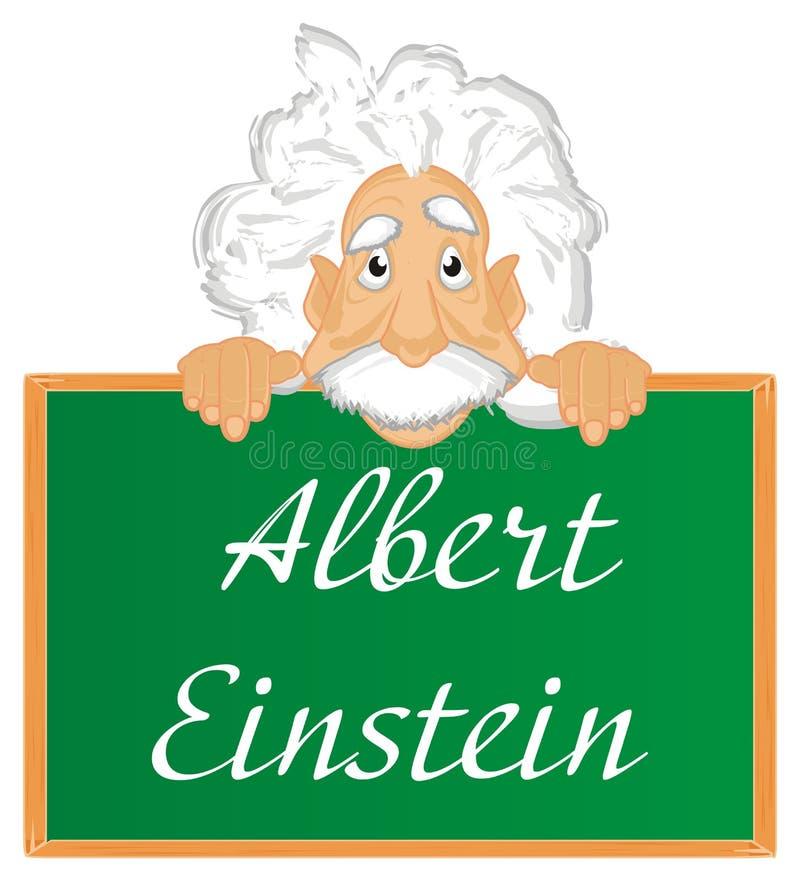 Cara de Albert Einstein y del tablero con las letras ilustración del vector