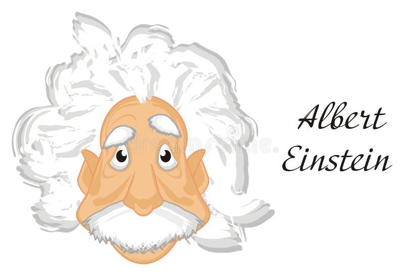 Cara de Albert Einstein y de palabras ilustración del vector