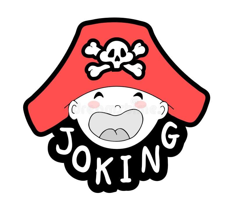 Cara de gracejo do bebê com chapéu do pirata ilustração do vetor