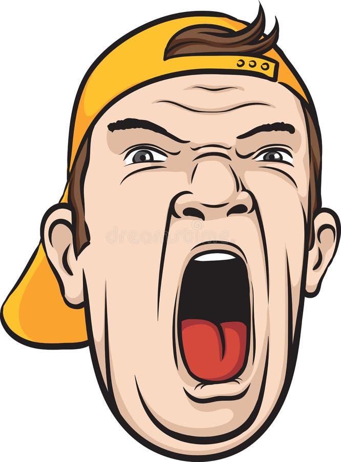Cara de griterío del hombre stock de ilustración