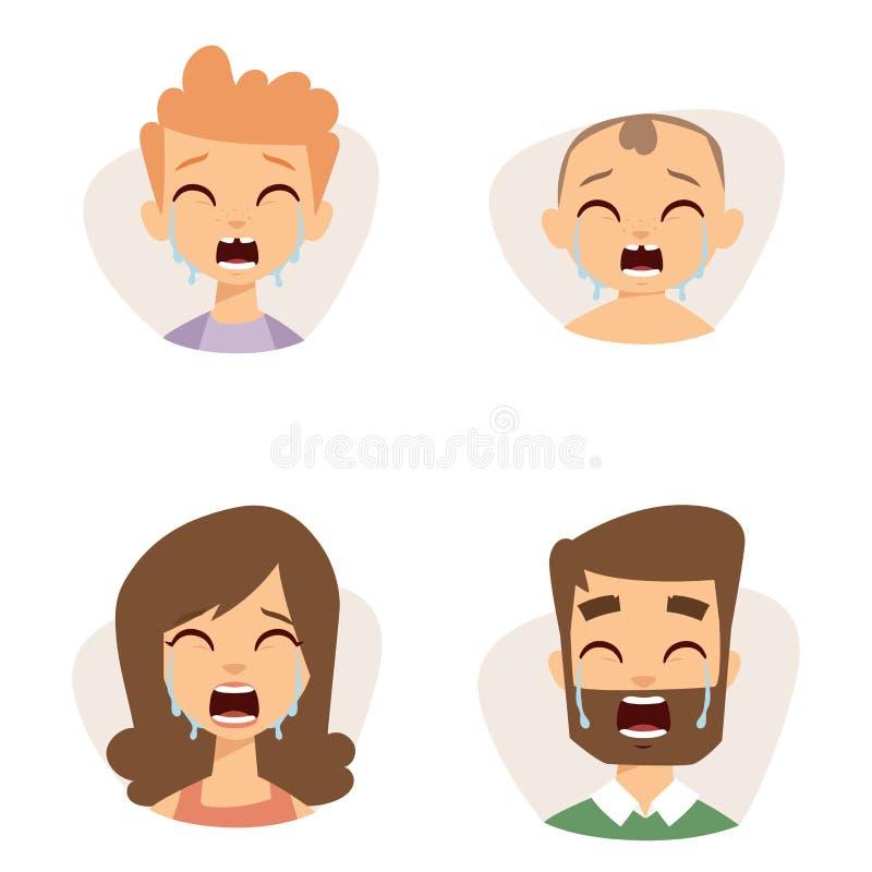 Cara de grito ajustada dos emoticons do vetor da ilustração dos caráteres dos avatars da surpresa de choque do medo dos povos ilustração stock