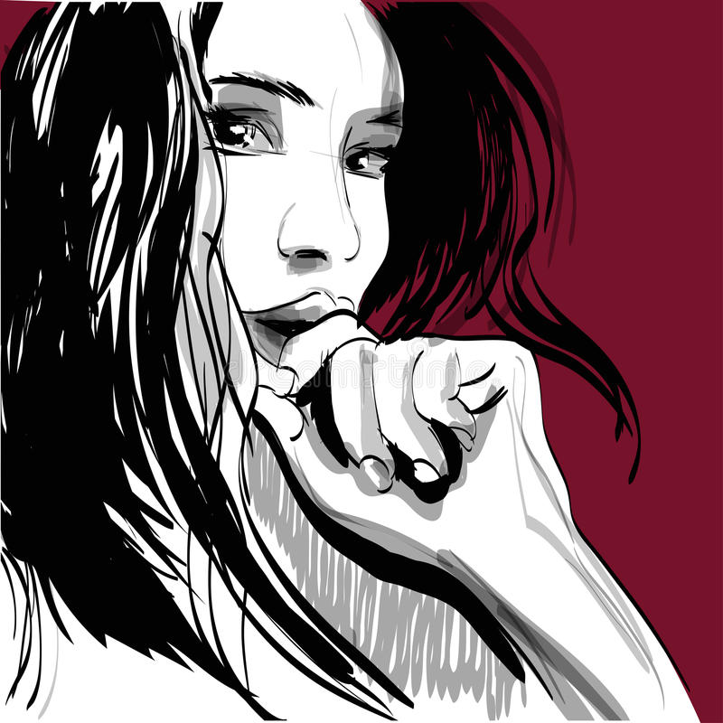 Cara de grito da mulher da menina Emoções humanas Vetor ilustração do vetor