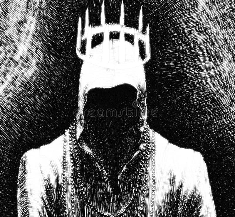 Cara de hombre espeluznante y negro libre illustration