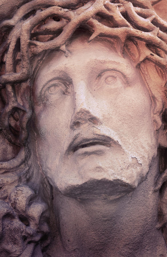 Cara de Jesus Christ (estátua, vintage denominado) imagens de stock royalty free